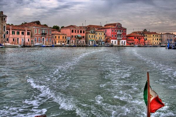 Vista da motoscafo Venezia